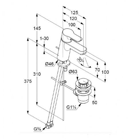 Baterie baie pentru lavoar, Kludi Pure & Easy 373829165, ventil inclus, montaj stativ, monocomanda, finisaj alb