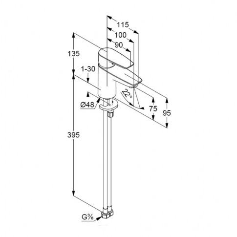 Baterie baie pentru lavoar, Kludi Pure & Solid 340280575, montaj stativ, monocomanda, finisaj cromat
