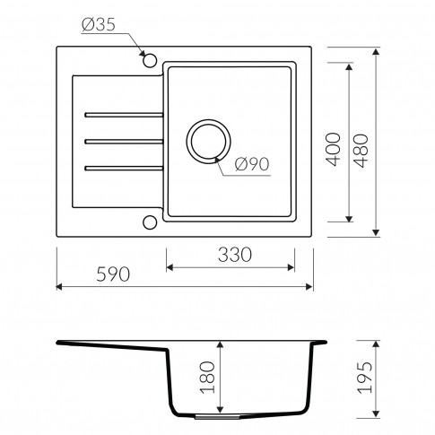 Chiuveta bucatarie compozit magranit Paxton nisipiu bej cuva stanga / dreapta 59 x 48 cm