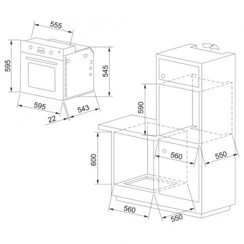 Cuptor electric incorporabil Franke GN 82 M NT XS, clasa A, 60 litri, 8 functii, grill, pizza, ventilator, argintiu