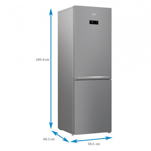 Combina frigorifica Beko RCNA366E30ZXB, 324 l, Neo Frost Dual Cooling, clasa A++, inaltime 185.9 cm, EverFresh+, argintiu