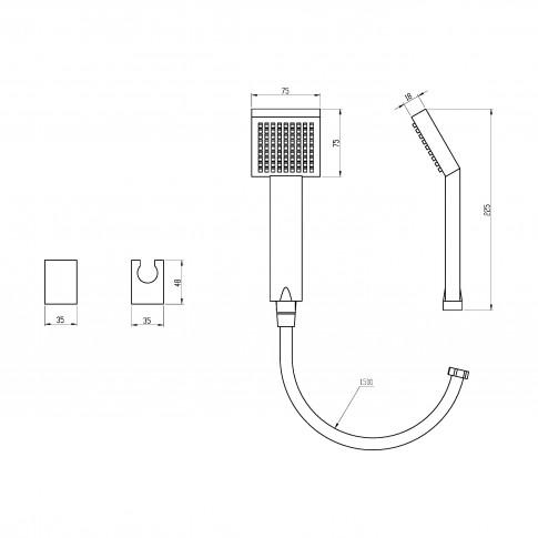 Set dus para + furtun + suport, Ferro Square Mini 130.0, 1 functie, 1.5 m