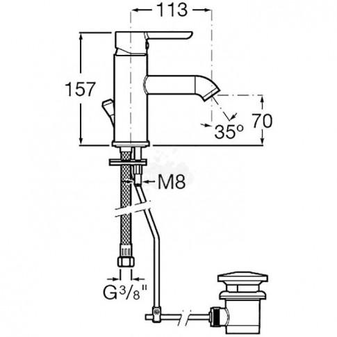 Baterie baie pentru lavoar, Roca Carelia A5A308AC0K, montaj stativ, monocomanda, finisaj cromat, ventil inclus