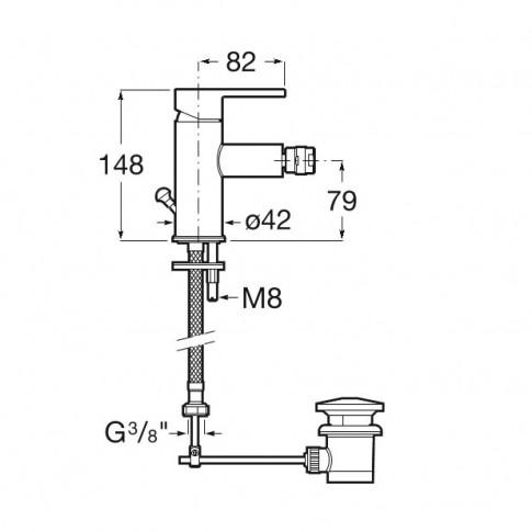 Baterie baie pentru bideu, Roca Carelia A5A608AC0K, cu ventil, monocomanda, finisaj cromat