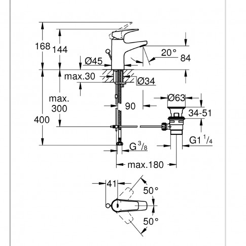 Baterie baie pentru lavoar, Grohe Start Flow 23809000, montaj stativ, monocomanda, finisaj cromat