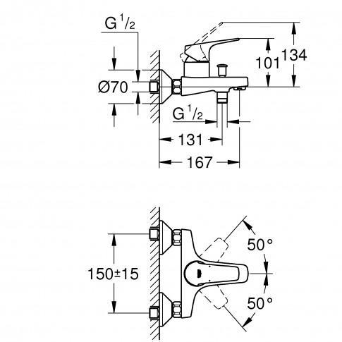 Baterie baie pentru cada / dus, Grohe Start Flow 23772000, montaj aplicat, monocomanda, finisaj cromat