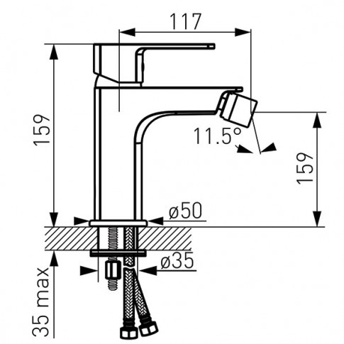 Baterie baie pentru bideu Ferro Alba BLB6VL, cu ventil, monocomanda, finisaj cromat