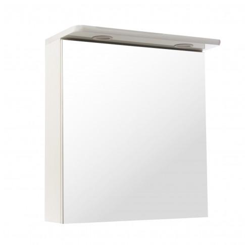 Dulap baie cu oglinda, iluminare, 1 usa, Havana, alb, 55 x 65 x 27 cm