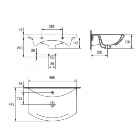 Lavoar Cersanit Cersania UN503-0202, alb, dreptunghiular, ceramica, 65 cm