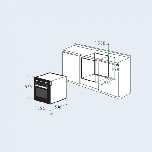 Cuptor electric incorporabil Pyramis 60IN 3010, clasa A, 62 litri, 6 functii, grill, ventilator, decongelare, timer, 2373 W, argintiu + negru