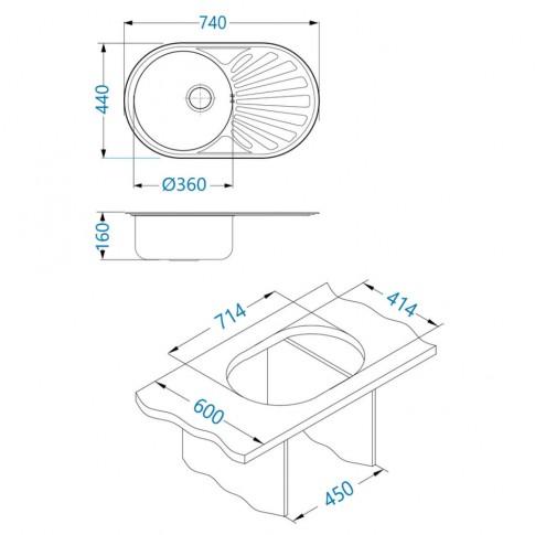 Chiuveta bucatarie inox leinen Alveus Ciklo 20 cuva pe dreapta 74 x 44 cm + baterie GM 110 CHR cromata