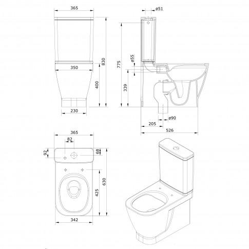 Set vas WC + rezervor + capac, Sanindusa Combo Look 134023, 36.5 x 83 x 52.6 cm