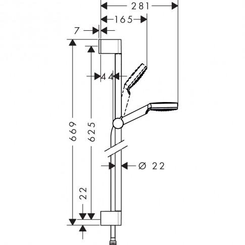 Pachet baterii baie + para dus + bara + furtun Hansgrohe Crometta My Cube 88001064