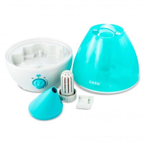 Umidificator Zass ZUH 02, 25 W, capacitate rezervor 3.5 l, capacitate umidificare 350 ml/h, oprire automata, lampa de veghe LED, compartiment pentru uleiuri aromatice, filtru anti-calcar, albastru