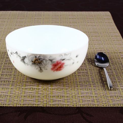 Bol pentru servirea mesei DEC 4, sticla opal, alb + decor, 12.5 x 6 cm