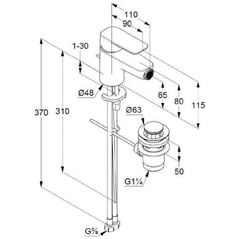 Baterie baie pentru bideu Kludi Pure & Style 402160575, ventil inclus, monocomanda, finisaj cromat