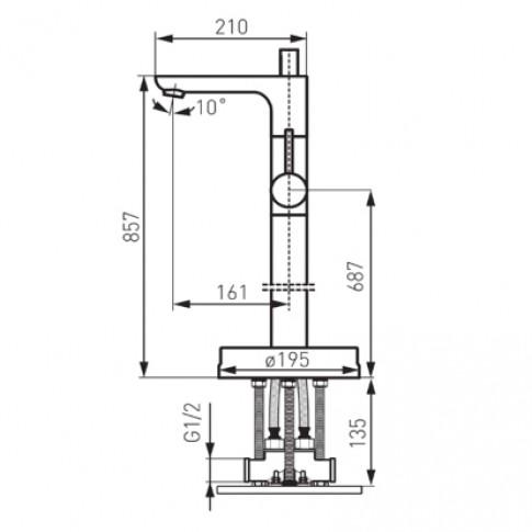 Baterie baie stativa, pentru cada / dus, Ferro Altus BFI11F, montaj stativ, monocomanda, finisaj cromat