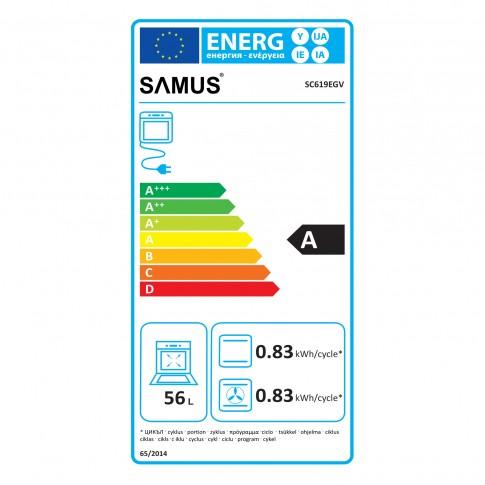 Cuptor electric incorporabil Samus SC619EGV, clasa A, 62 litri, 6 functii, grill, ventilator, timer, afisaj LCD, 2200 W, negru