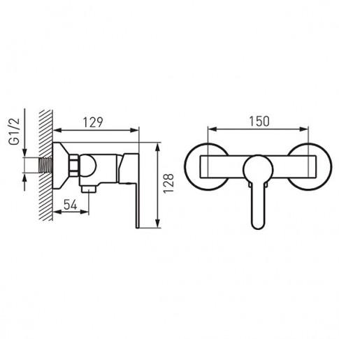 Baterie baie pentru dus, Ferro Soleno BLS-SET 2, monocomanda, + accesorii, montaj aplicat, finisaj cromat