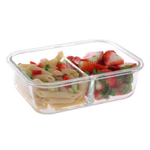 Caserola depozitare alimente, cu capac etans, HSG1050RC, sticla transparenta, compartimentata, 0.98 L