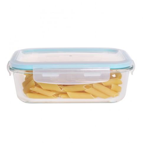 Caserola depozitare alimente, cu capac etans, HS1050RC, sticla transparenta, 1.04 L