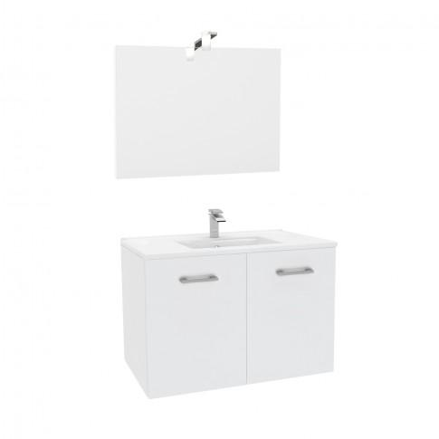 Mobilier baie + lavoar + oglinda Savini Due Fly, cu usi, alb, montaj suspendat,  81 x 47 x 53 cm