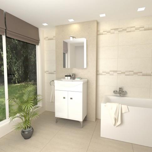 Masca baie + lavoar + dulap cu oglinda Savini Due Rigo 55, cu usi, alb, 56.5 x 88.5 x 42.5 cm
