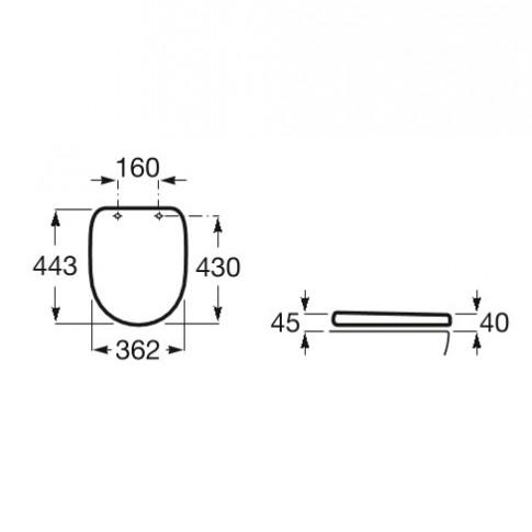 Capac WC din supralit, Roca Debba A801B2000B, alb, inchidere standard, 362 x 443 mm