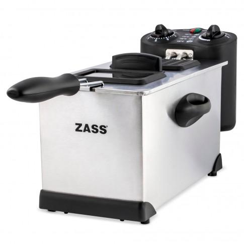 Friteuza Zass ZDF 02, 2000 W, 3 l, termostat reglabil 130 - 190 grade C, temporizator 30 min, carcasa din otel inoxidabil, capac cu fereastra din sticla si filtru, argintiu + negru