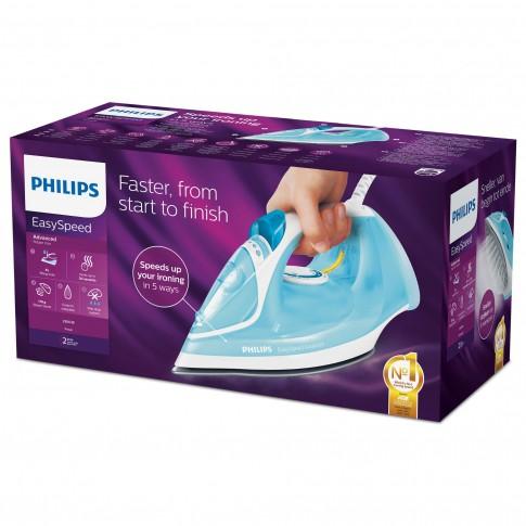 Fier de calcat Philips EasySpeed Advanced GC2670/20, 2300 W, talpa ceramica, 0.30 l, 170 g/min, sistem anti-picurare, functie Calc-clean, varf cu precizie tripla, albastru