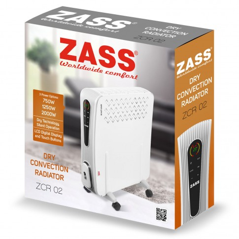 Convector electric Zass ZCR 02, 3 trepte, 2000 W, 350 x 570 x 140 mm, termostat reglabil, display digital LED, control touch, temporizator, telecomanda, alb