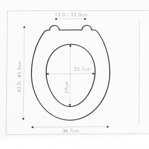Capac WC din MDF, Kadda KT-134MD19, model London, inchidere standard, 367 x 430 / 455 mm