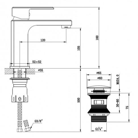 Baterie baie pentru lavoar, Kadda Apple MY 1703-2 CR, montaj stativ, monocomanda, finisaj cromat