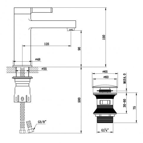 Baterie baie pentru lavoar, Kadda Column MY1806-2 CW, montaj stativ, monocomanda, finisaj cromat + alb