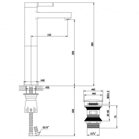 Baterie baie inalta pentru lavoar, Kadda Column MY1806-21 CW, montaj stativ, monocomanda, finisaj cromat + alb