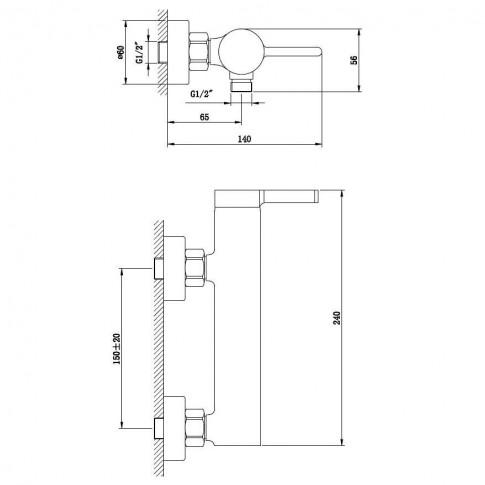 Baterie baie pentru dus, Kadda Column MY1806-7 CW, monocomanda, montaj aplicat, finisaj cromat + alb