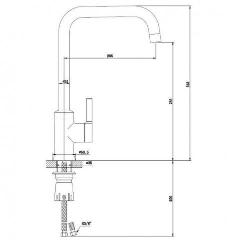 Baterie bucatarie, Kadda Column MY1806-42 CW, stativa, monocomanda, alama, finisaj cromat + alb