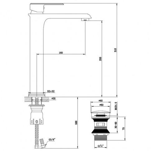 Baterie baie inalta pentru lavoar, Kadda Integrity MY1701-21 DB, montaj stativ, monocomanda, finisaj negru + rosu