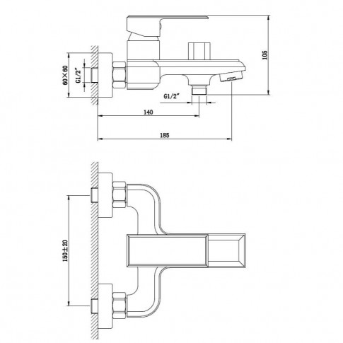 Baterie baie pentru cada / dus, Kadda Integrity  MY1701-3 DBR, montaj aplicat, monocomanda, finisaj negru + rosu