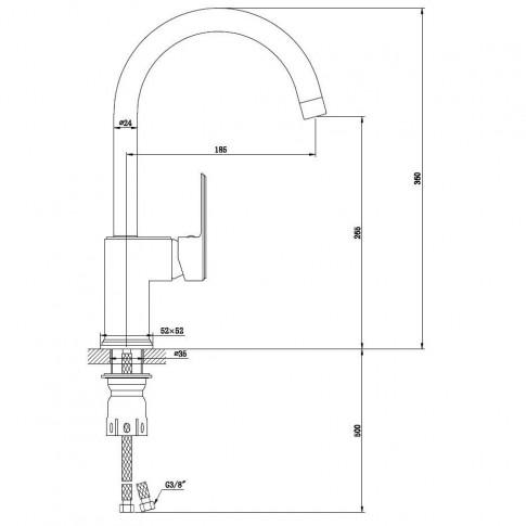 Baterie bucatarie, Kadda Integrity MY1701-42 DB, stativa, monocomanda, alama, finisaj negru + rosu