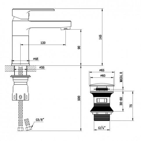 Baterie baie pentru lavoar, Kadda Clover MY1708-2 CR, montaj stativ, monocomanda, finisaj cromat