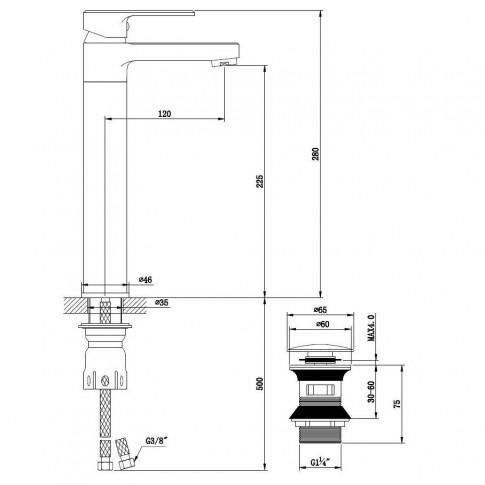 Baterie baie inalta pentru lavoar, Kadda Clover MY1708-21 CR, montaj stativ, monocomanda, finisaj cromat