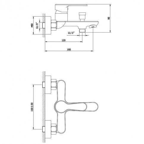 Baterie baie pentru cada / dus, Kadda Clover  MY1708-3 CR, montaj aplicat, monocomanda, finisaj cromat