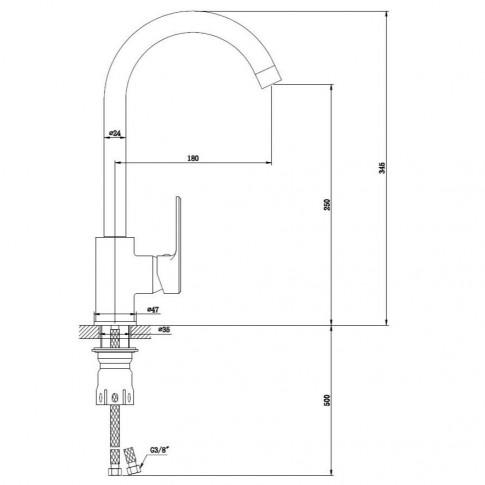 Baterie bucatarie, Kadda Clover MY1708-42 CR, stativa, monocomanda, alama, finisaj cromat