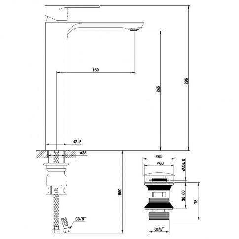 Baterie baie inalta pentru lavoar, Kadda Slice MY1802-21 CR, montaj stativ, monocomanda, finisaj cromat