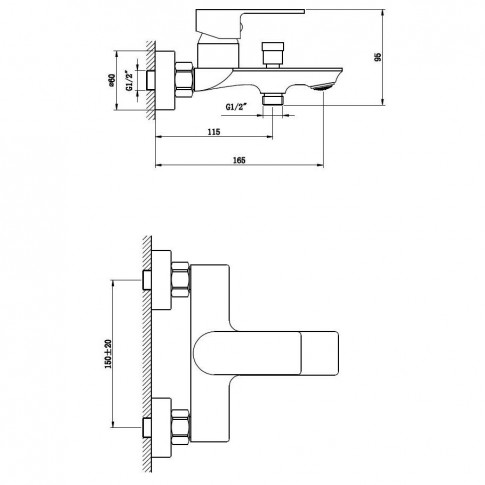 Baterie baie pentru cada / dus, Kadda Slice  MY1802-3 CR, montaj aplicat, monocomanda, finisaj cromat