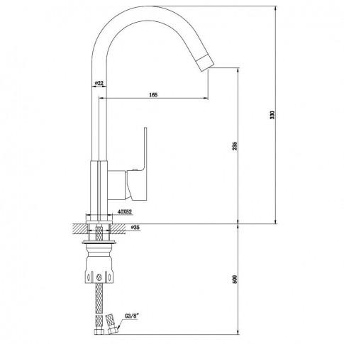 Baterie bucatarie, Kadda Slice MY1802-42 CR, stativa, monocomanda, alama, finisaj cromat