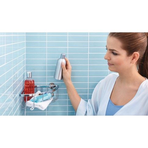 Etajera pentru baie din aluminiu cromat Tesa Aluxx 40200, autoadeziva, montaj pe colt, 1 raft, 20 x 19.2 x 9.2 cm