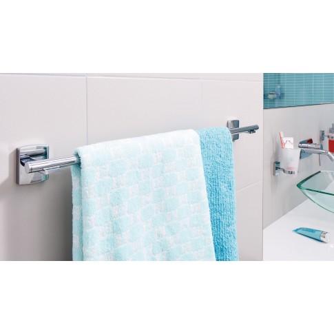 Suport prosop baie tesa Klaam 40264, tip bara, autoadeziv, metal cromat, 64.6 x 7.3 x 6 cm