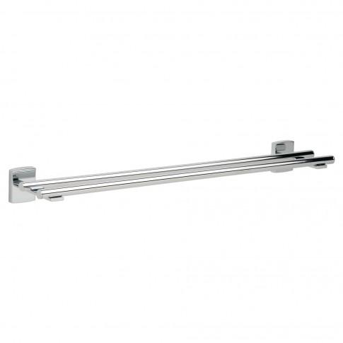 Suport prosop baie tesa Klaam 40265, tip bara, cu doua brate, autoadeziv, metal cromat, 64.6 x 12.5 x 6 cm